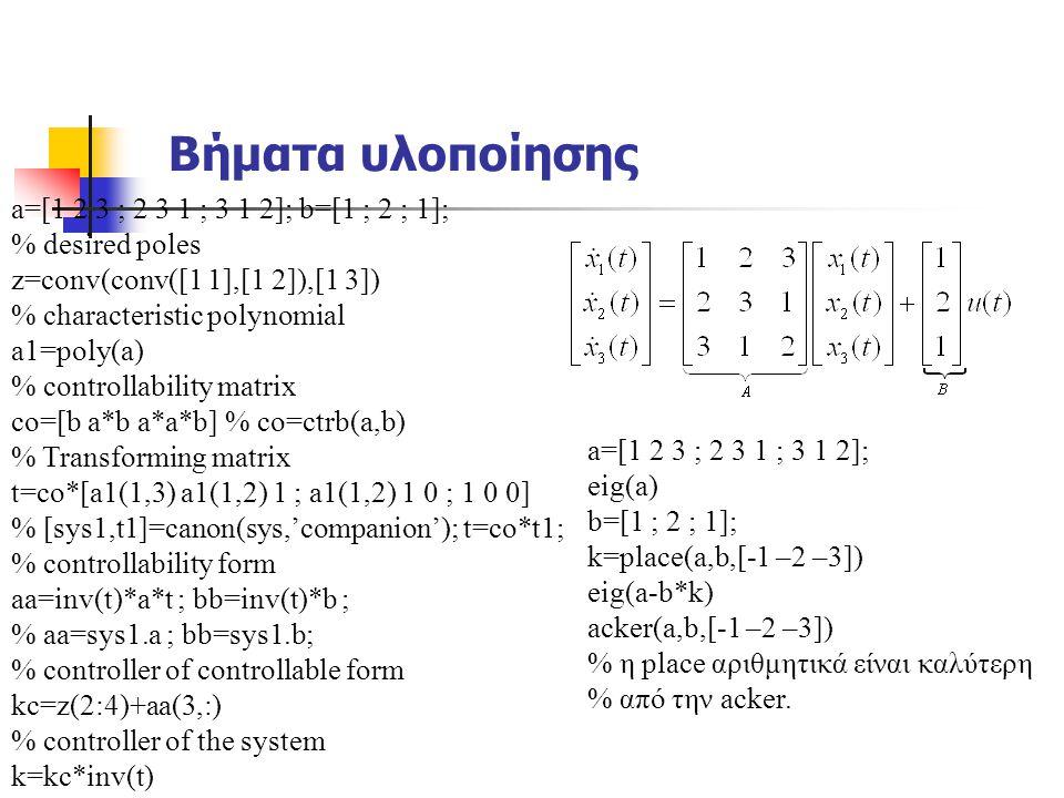 Βήματα υλοποίησης a=[1 2 3 ; 2 3 1 ; 3 1 2]; b=[1 ; 2 ; 1];